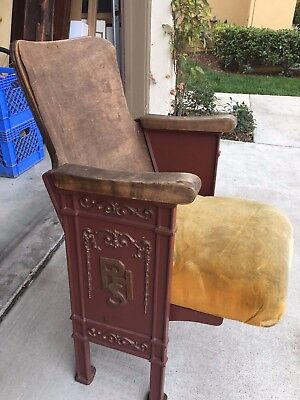 Vintage Art Deco Movie Theater Seat - Side Panels say PHS - Folding Chair