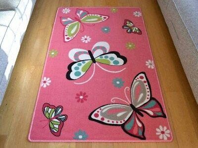 New Girls Pink Green Blue Grey Bedroom Butterfly Rugs Machine Washable Mat Cheap