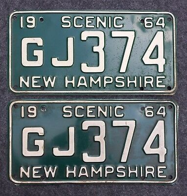 1964 NEW HAMPSHIRE License Plate Tags Pair 64 NH - YOM Clear GJ374