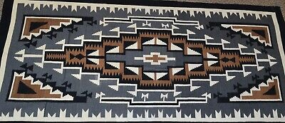 1959 Native American Navajo Two Grey Hills Rug