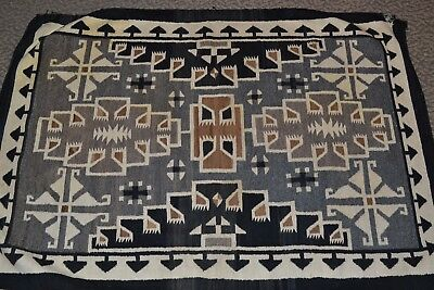 1930's Native American Navajo Two Grey Hills Rug