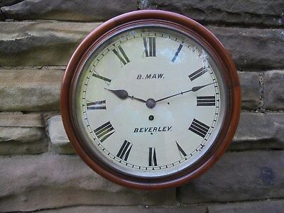 Antique Mahogany Cased Fusee Dial Clock Maw Beverley