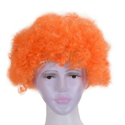 6X(Halloween Maenner Frauen orange Curly Afro Zirkus-Clown-Peruecke