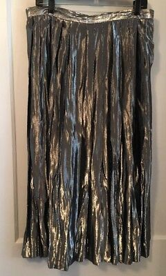 "Vintage 16 Skirt L Silver Lame Evan Picone Ilgwu Pleated 33"" Christmas 17"" W"