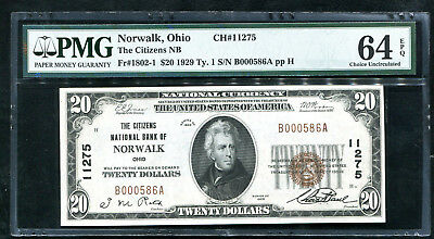 1929 $20 The Citizens Nb Of Norwalk, Oh Ch. #11275 Pmg Uncirculated-64Epq