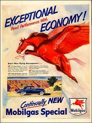 1950 vintage AD MOBILGAS Special Gasoline Art , great Flying Red Horse !032017