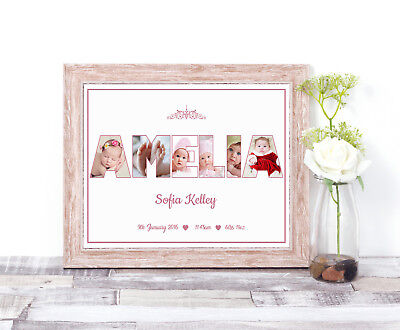 personalised name photo collage word art print christening new baby