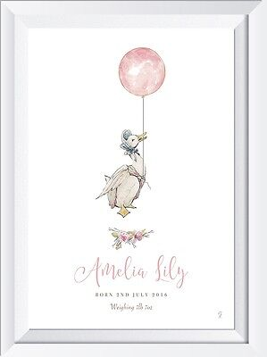 Personalised baby name peter rabbit PRINT gift christening art picture nursery
