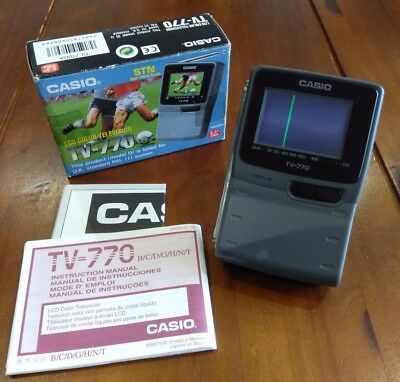 """Casio LCD 2.3"""" Hand Held Colour TV - 770 Collectors Item with Original Packaging"""