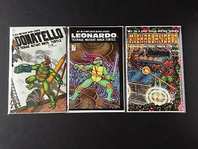 TEENAGE MUTANT NINJA TURTLES Lot of 3: DONATELLO, LEONARDO, MICHAELANGELO 1-SHOT