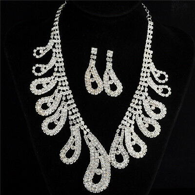 Rhinestones Diamante Crystal Pearl Wedding Party Bridal Necklace Earrings Set UK
