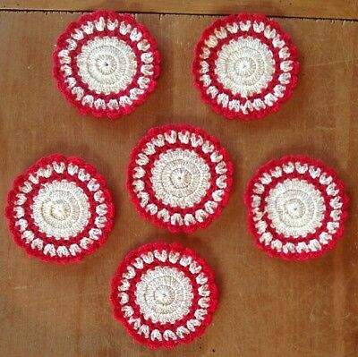 6, Antique Vintage Crochet Red And Cream Coasters, Mint