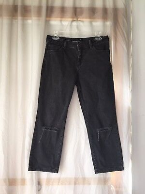 e08b8dd9be NWT ASOS PETITE Black Thea Mid Rise Girlfriend Jeans w/ Ripped Knees W28 L28