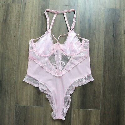 Sexy Plus Size 8-22 Pink Strappy Lace Sheer Bodysuit One Piece Lingerie Leotard