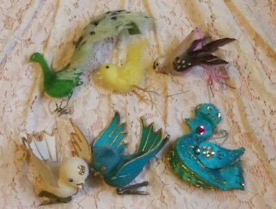 Lot of 6 Vintage Bird Christmas Ornaments Clip On and Wire