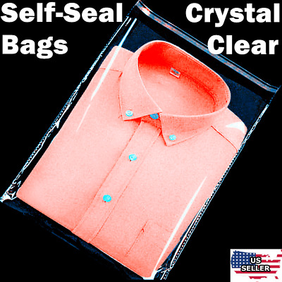 Clear Resealable Self Adhesive Seal Cello Lip & Tape Plastic bags 1.0 mil Thick