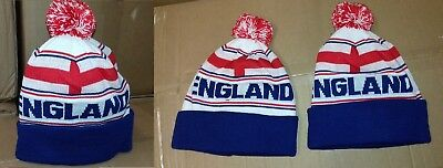 England Pom Pom  Bobble  Beanie Hat Wooly  Knitted Hat