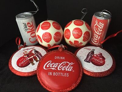 Coca Cola Christmas Ornaments Lot Of 7 Trimmings Collectible Holidays Vintage