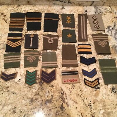 Rare lot of 24 Canadian WWII Army RAF NAVY Military Rank Insignia Stripe Patches