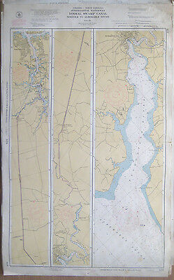 "Vtg 1951 C&GS Nautical CHART #829 INTRACOASTAL Norfolk to Dismal Swamp 24"" x 39"""