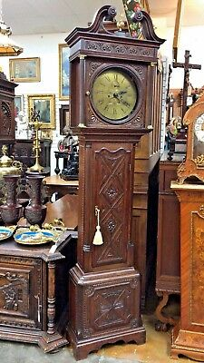 """English Grandfather Clock With Date Thomas Wood Case 85""""  1790-1820"""