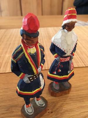 Vtg Pair Of Wooden Hand Carved Figures Saami Lapland Norwegian Norway Lappland