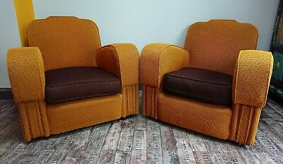 PAIR 20S/1930S ART DECO MUSTARD YELLOW Club Chairs Armchairs Retro Vintage Brown