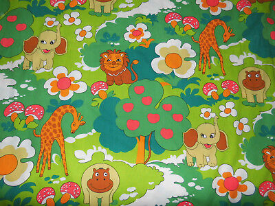 Bettwäsche Safari Tiere 100x135 vintage 70er 80er animal fabric bedding 70s vtg