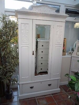 Beautiful Vintage Painted Victorian Style Mirrored Wardrobe Shabby Chic