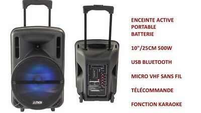 Sono Portable  500W Led Usb Bleutooth Fonction Karaoke Micro Vhf Sans Fil Led