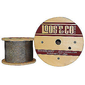 LOOS 304 Stainless Steel Cable,100 ft. L,3/8 in.,2400 lb., SC37577