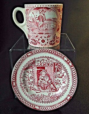 Antique red transferware - Royal Bonn child's mug & small Staffordshire plate