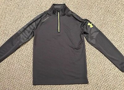 Under Armour Tech 1/4 Zip Pullover Loose Fit Combine Mens Small Gray Yellow EUC