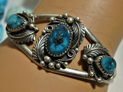 Rare Old NAVAJO J.Long APACHE Blue TURQUOISE STERLING Silver Squash Blossom CUFF