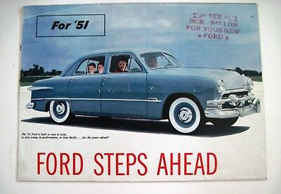 """1951 """"Ford"""" Car Brochure w/ Colorful Pictures of All Models  *"""