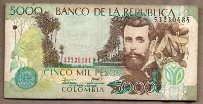 Colombia VF Note 5000 Pesos August 2008 P-452