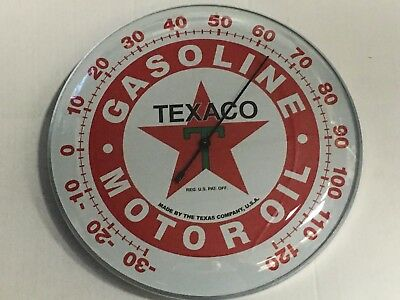 "TEXACO GASOLINE OIL THERMOMETER 12"" Round SIGN, Garage Man cave, ~FREE SHIPPING!"