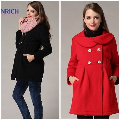 Double Breasted Thick Winter Warm Maternity Coat Red or Black sizes 8 10 12 14