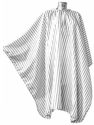 Pro Dmi Vintage Barbering Cape White Pinstripe Polyester Perfect For Barbers Use