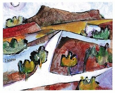 WHITE ROAD original abstract/folk/outsider? painting J.Swinton Canadian NR