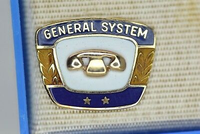 General Systems Telephone 2 Star Service Award 10K Gold Lapel Pin MINT IN BOX!!!