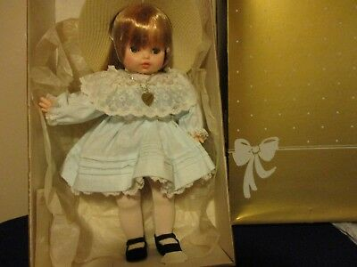 Horsman porcelain Baby Doll Antoinette Vintage blue dress sun hat heart necklace