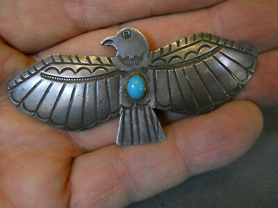 """Old turquoise sterling silver thunderbird pin 3"""" x 1 3/8"""""""