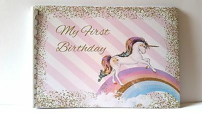 1st Birthday Guest Book, Unicorn, Rainbow Birthday, Gift Page, 20 Pages A5 size