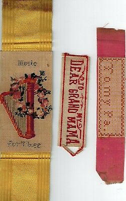 3 1800's Punch Paper Embroidery Sampler Bookmarks - Grandmama, Pa & Music 4 Thee