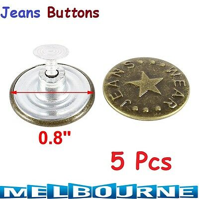 5Pc Denim Jeans Jeggings Jackets Mens Women Tack Buttons 20mm Repair Replacement