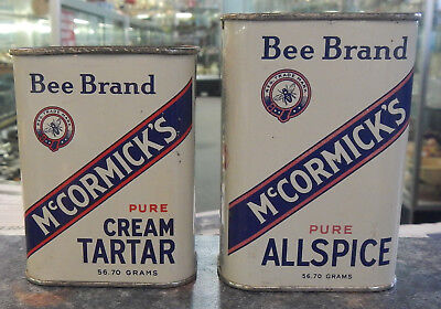 McCormick Bee Brand 2 Spice Tin Cans