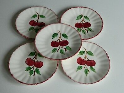 5 Blue Ridge Southern Potteries Cherry Bounce Bread & Butter /  Side Plates