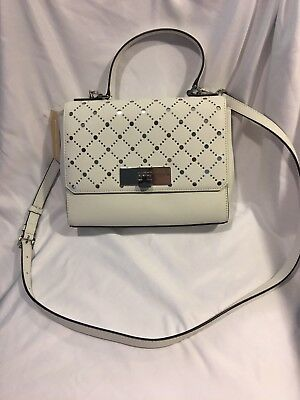 87ec70a80b29 Michael Kors Callie MD TH Perforated Leather Satchel Shoulder Bag White  Purse