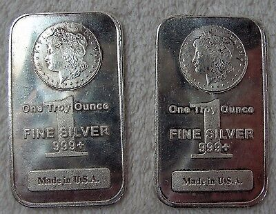 2x 1 oz Troy Morgan Stamped Silver Bar .999 Fine Made in USA